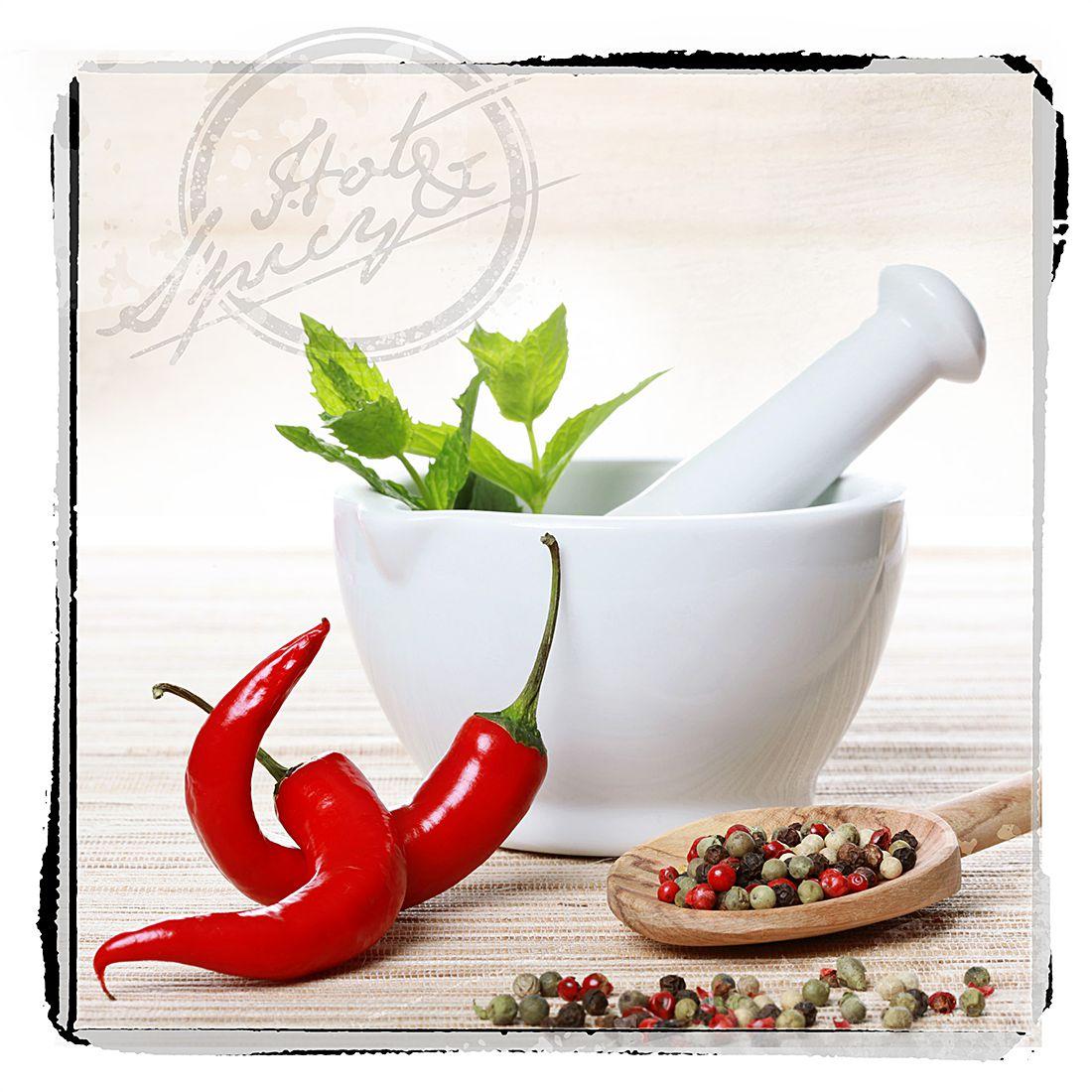 Glasbild Chili Kitchen - Glasbild Chili Kitchen 30x30, Pro Art