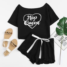 Graphic Short Sleeve Tee & Ruffle Shorts PJ Set