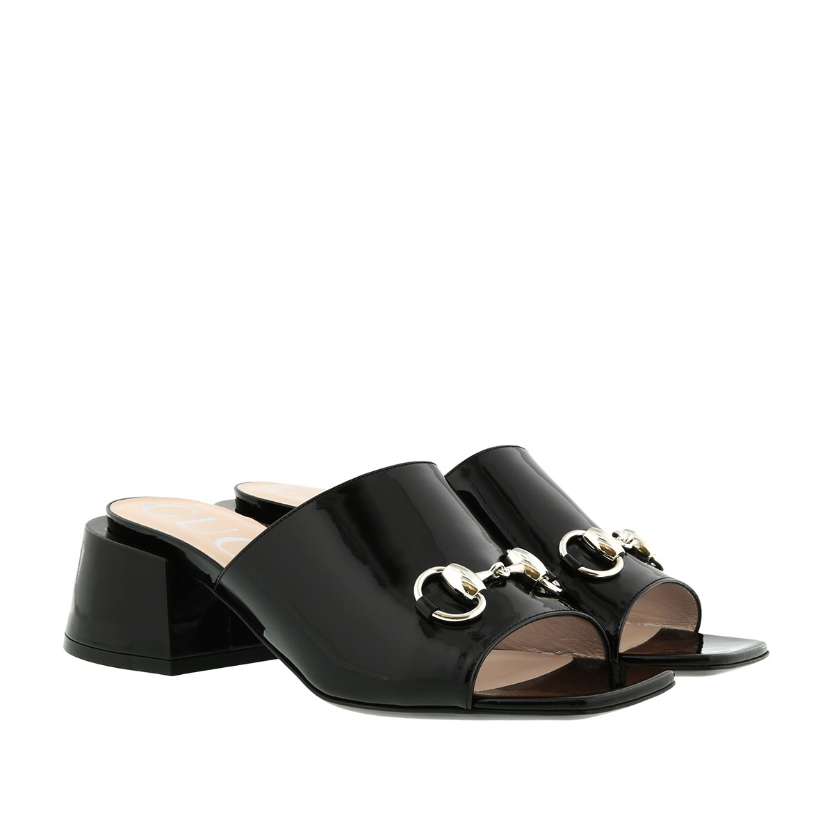 Gucci Sandalen - Mid-Heel Slide Pumps Patent Leather Black - in schwarz - für Damen