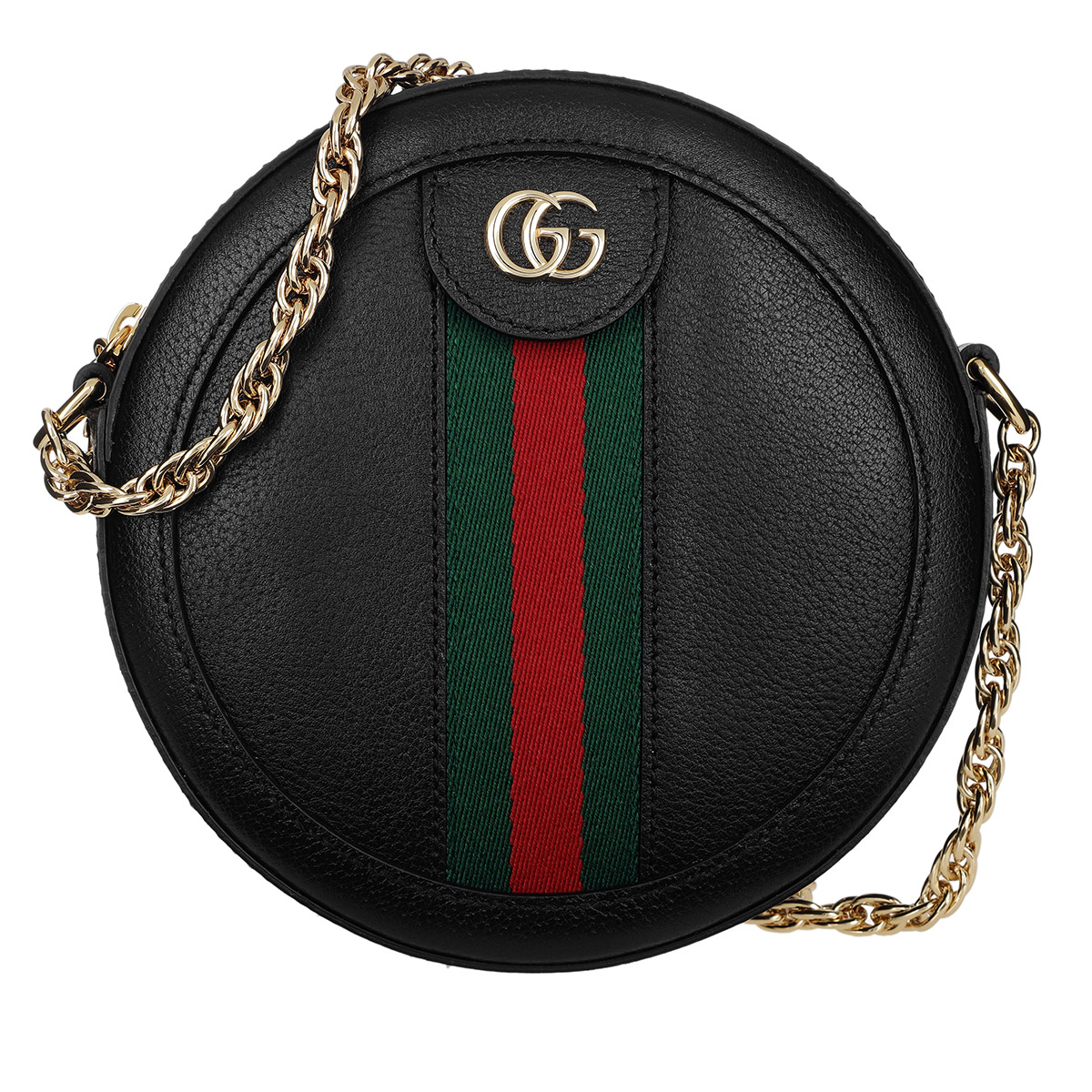 Gucci Umhängetasche - Ophidia Mini Round Shoulder Bag Leather Black - in schwarz - für Damen