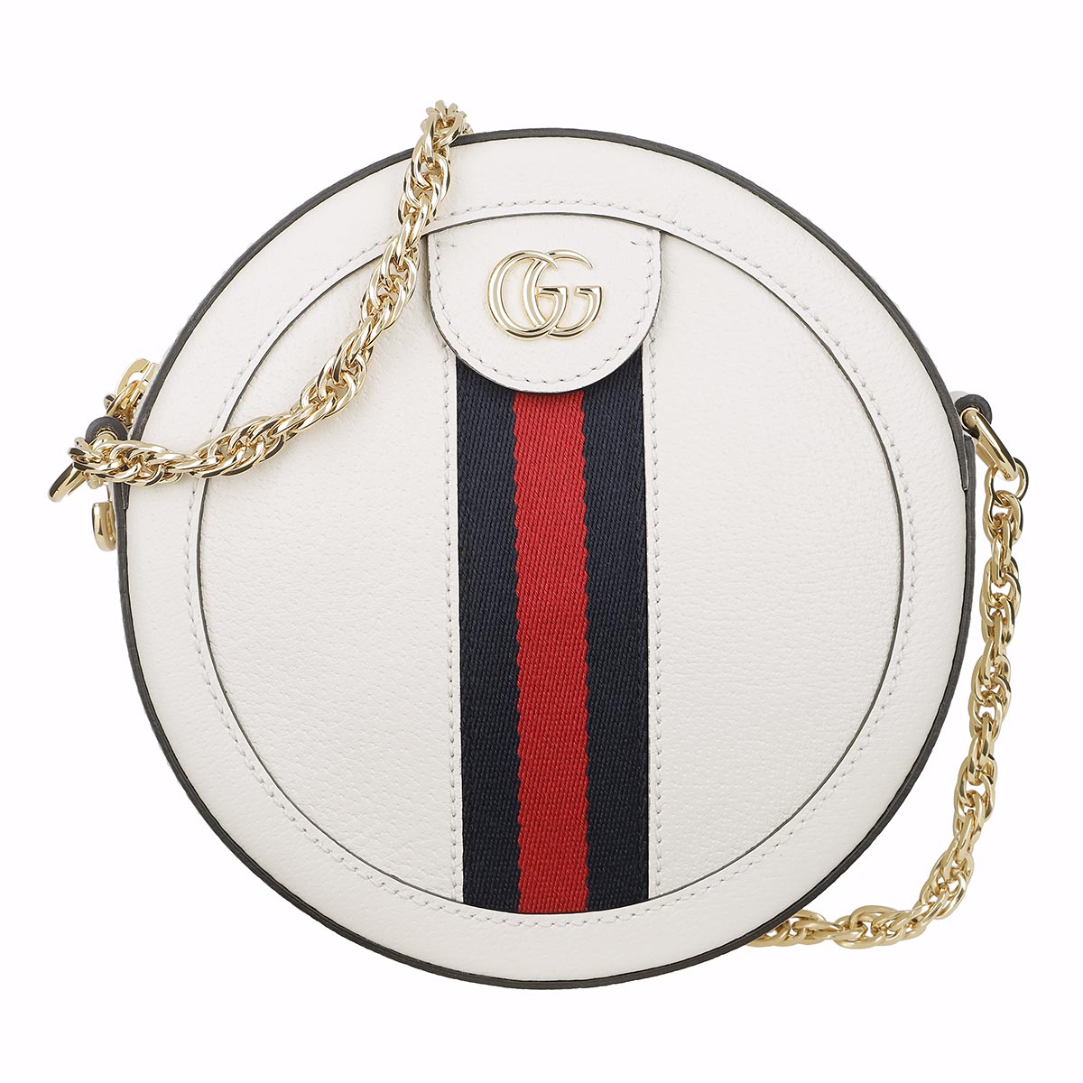 Gucci Umhängetasche - Ophidia Mini Round Shoulder Bag Leather White - in weiß - für Damen