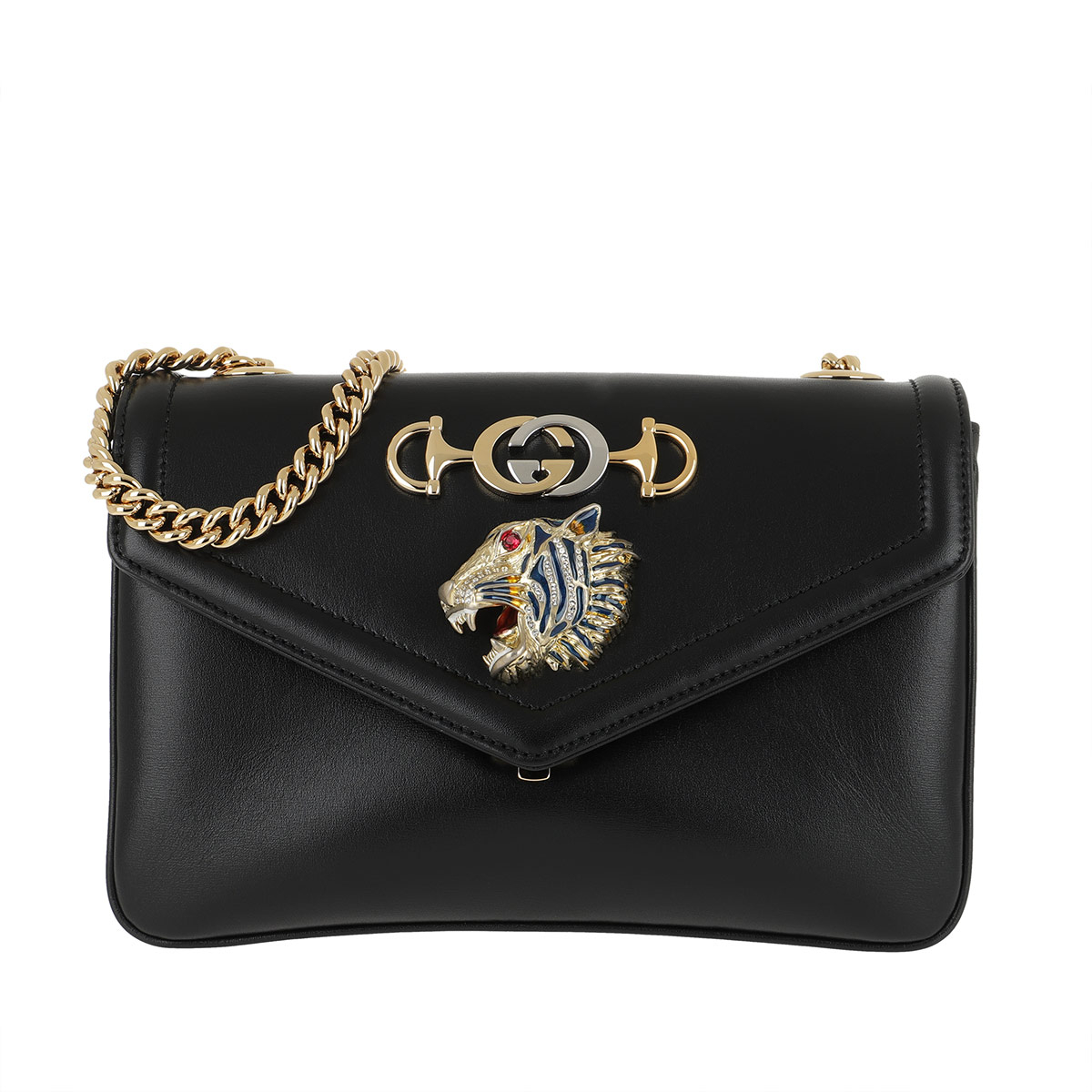 Gucci Umhängetasche - Tiger Head Shoulder Bag Leather Black - in schwarz - für Damen