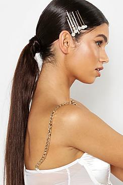 Haarschmuck-Set mit Strass und Perlen