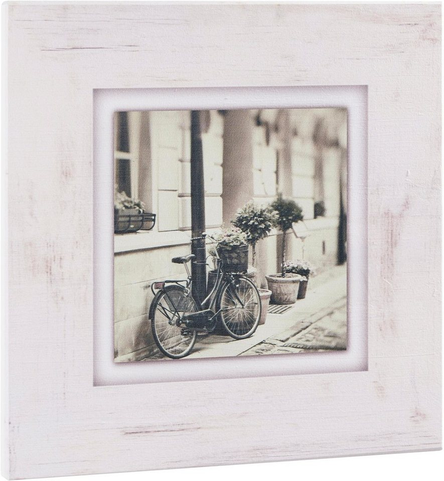"Home affaire Holzbild ""Fahrrad an Hauswand"", beige, 40x40cm"