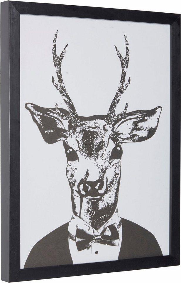"""Home affaire Kunstdruck """"Reh im eleganten Anzug"""", schwarz, 33x43cm"""