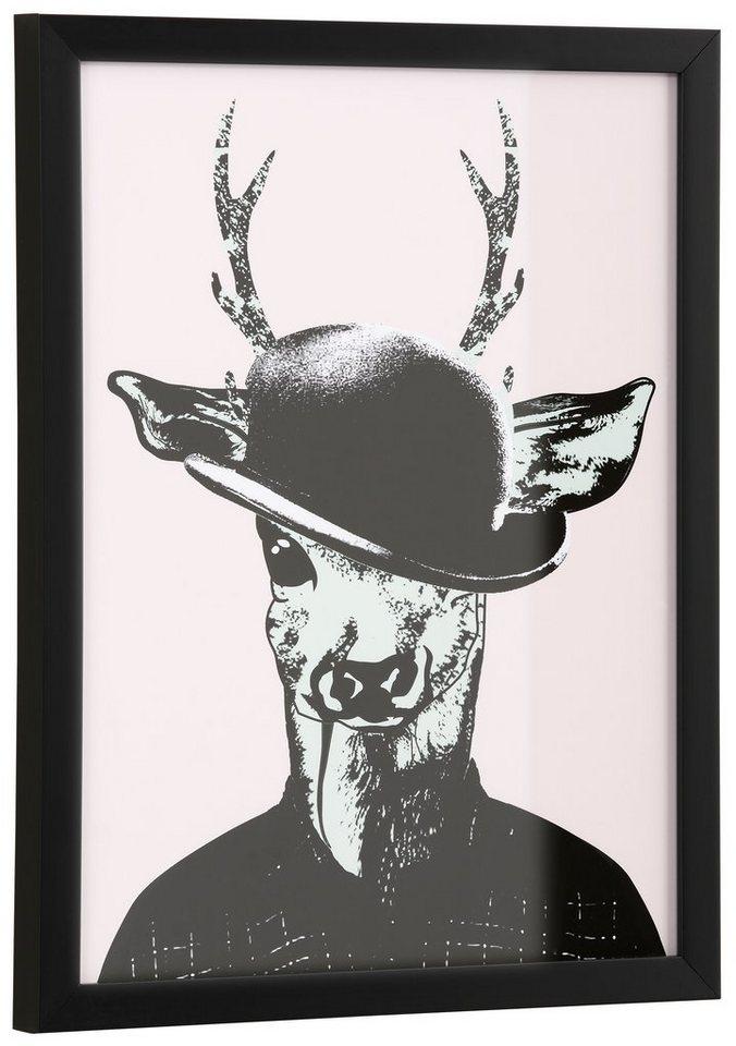 "Home affaire Kunstdruck ""Reh in Spaziergang-Kleidung"", rosa, 33x43cm"
