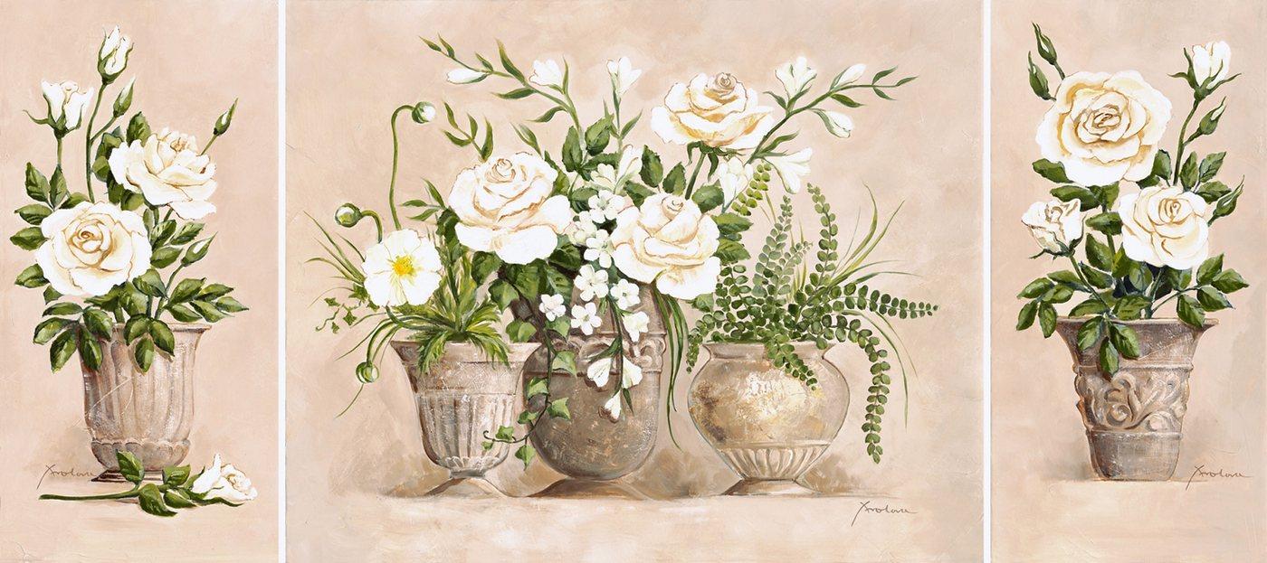 """Home affaire Kunstdruck """"Rosen Bouquet"""", beige, 132x59cm"""