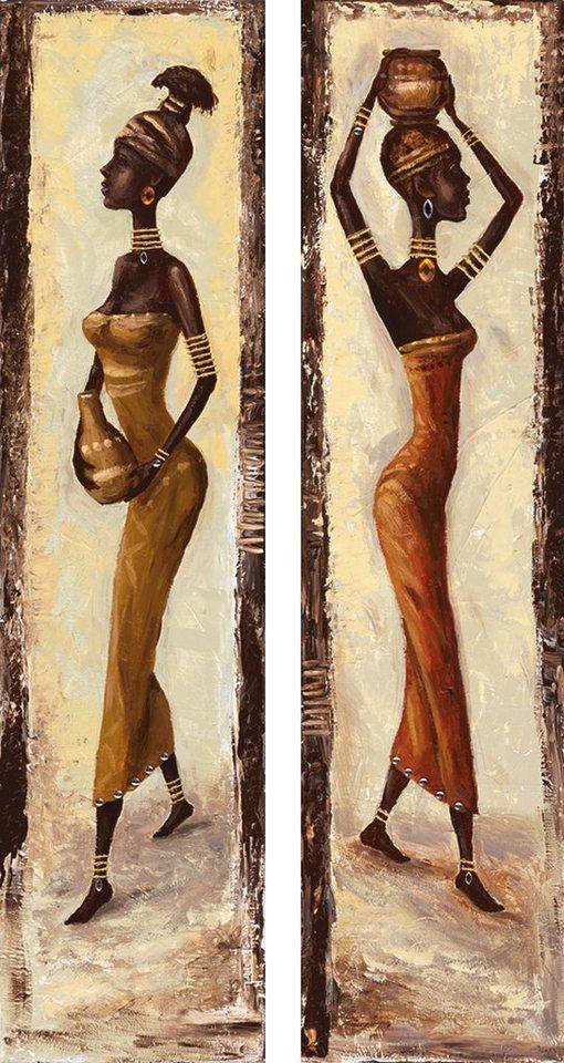 "Home affaire Kunstdruck , beige, 19x74cm, ""A. S.: African woman I + II"""
