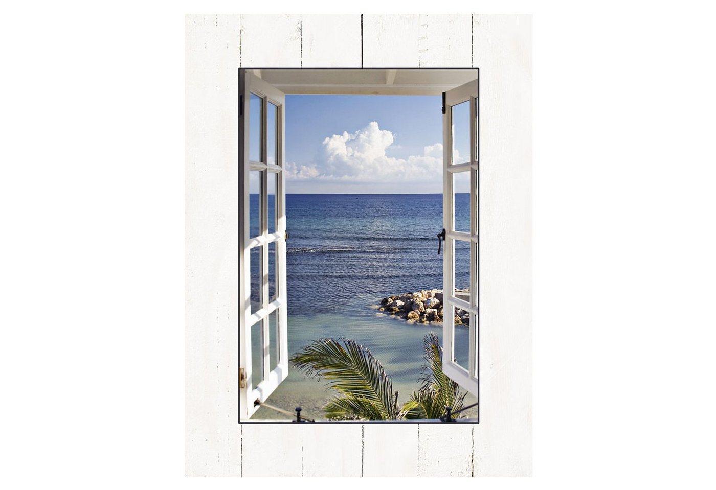 """Home affaire Kunstdruck , blau, 60x81cm, """"K. Sucker: Fenster zum Paradies"""""""