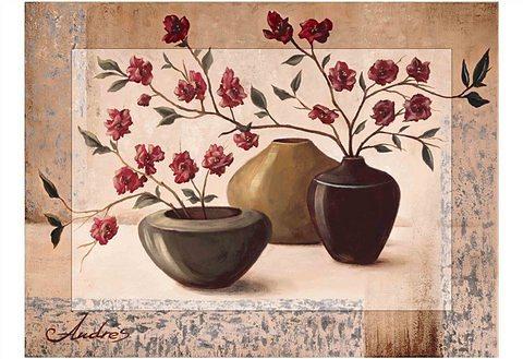 "Home affaire Kunstdruck , braun, 81x60cm, ""Andres: Silver framed cherry blossoms"""