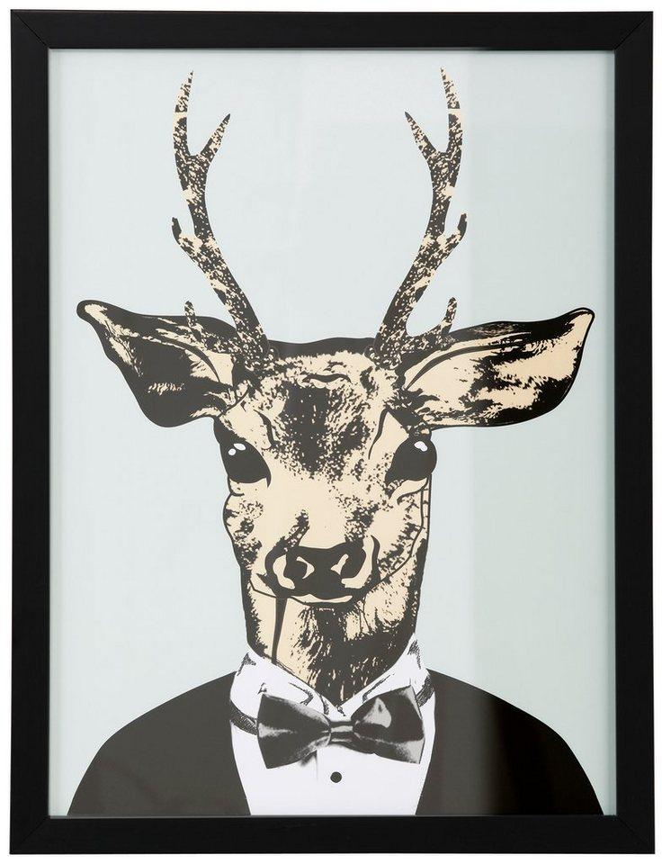 """Home affaire Kunstdruck , grün, 33x43cm, """"Reh in elegantem Anzug"""""""