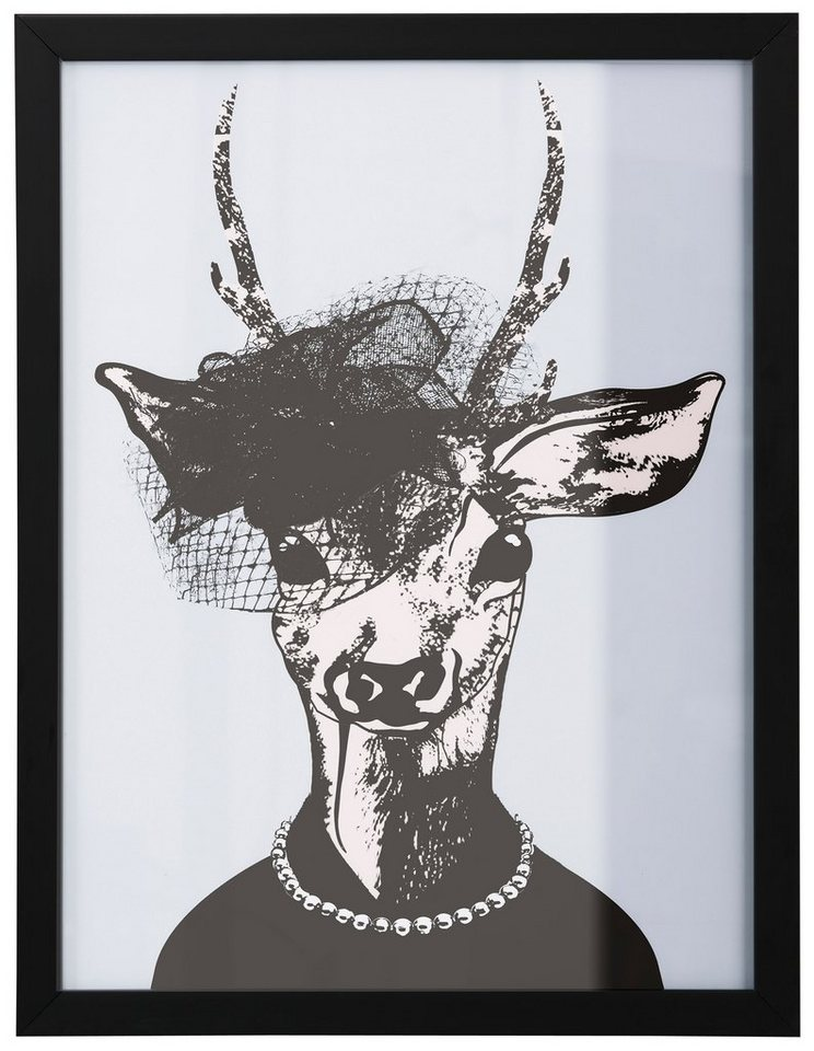 "Home affaire Kunstdruck , lila, 33x43cm, ""Reh-Frau in stillvollen Abendmode"""