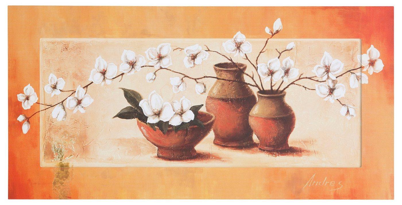 """Home affaire Kunstdruck , orange, 100x50cm, """"S., A.: Weiße Kirschblüten in roten Vasen II"""""""