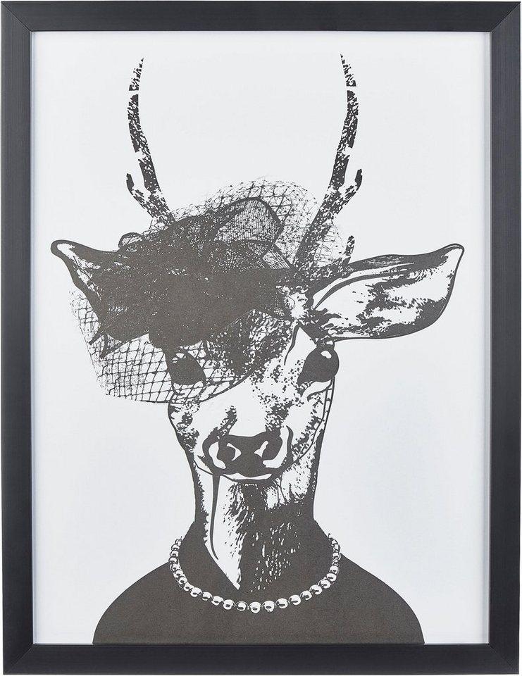 """Home affaire Kunstdruck , schwarz, 33x43cm, """"Reh-Frau in stillvollen Abendmode"""""""