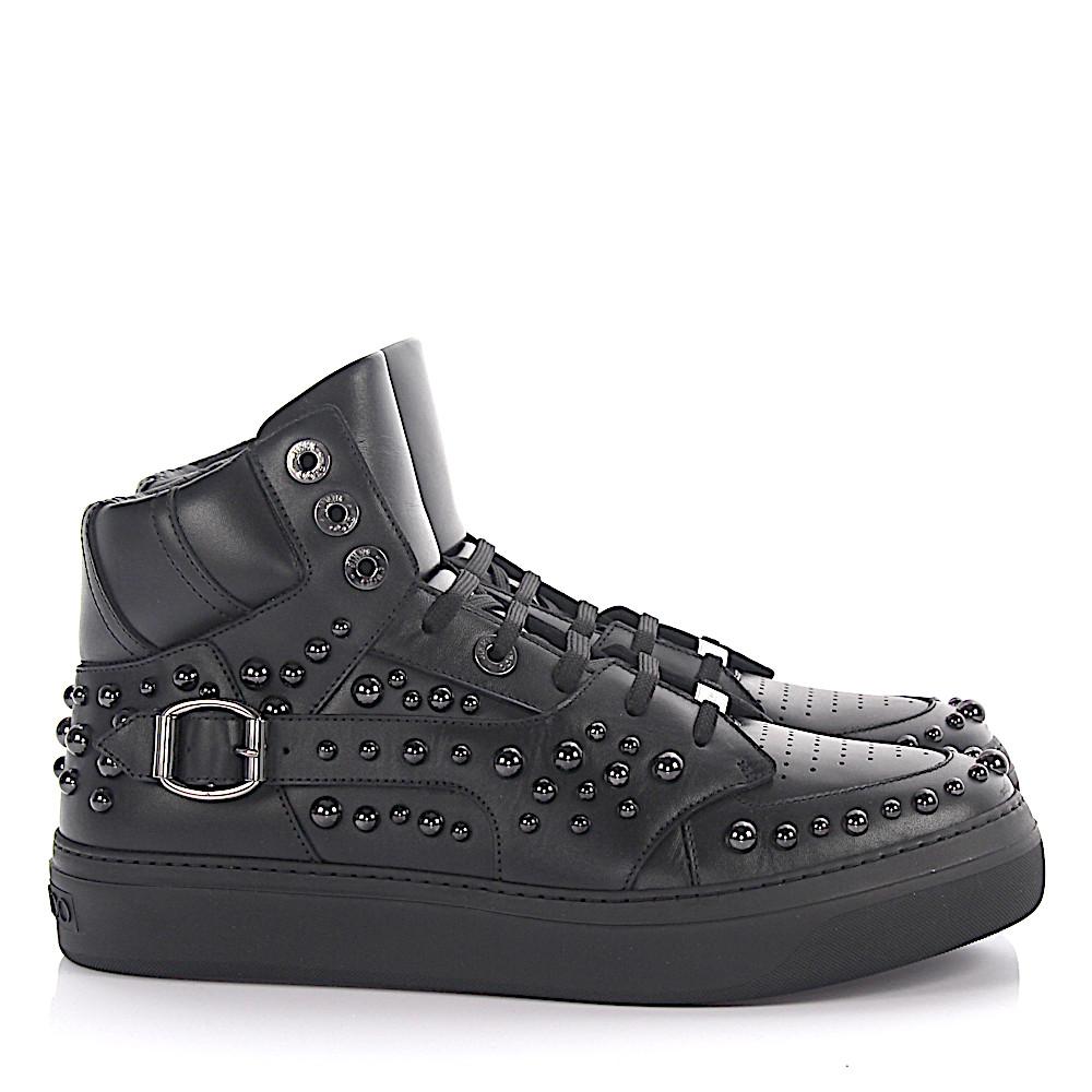 Jimmy Choo Sneaker High Ruben Leder schwarz Nieten anthrazit