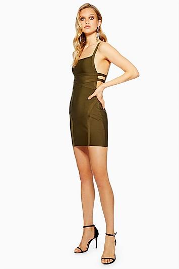 Kleid im Bandagen-Design mit seitlichen Riemen - Khaki