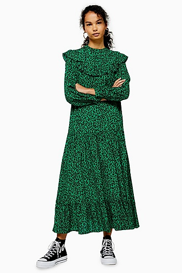 Kleid mit Animal-Print und Biesen - Grün