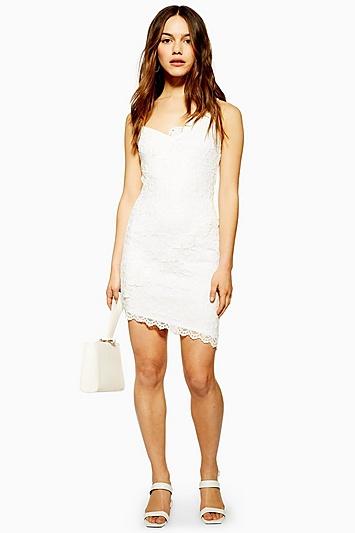 Kleid mit Fächerspitze Petite-Größe - Elfenbein