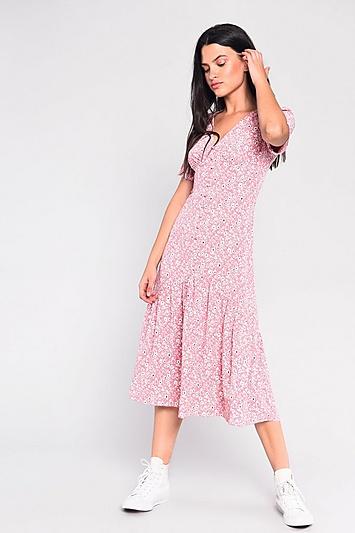 **Kleid mit Knopfleiste und Trompetensaum von Glamorous - Pink