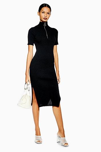 Kleid mit Reißverschluss - Schwarz