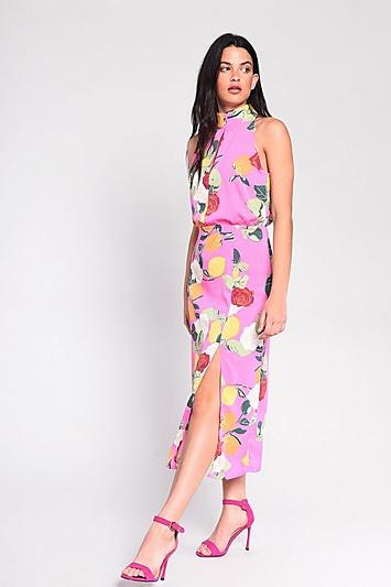 **Kleid mit Zitrusblüten-Print von Glamorous - Pink