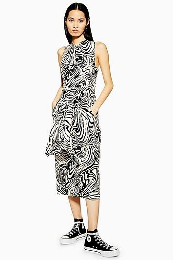 **Kleid zum Binden mit Zebra-Print von Boutique - Schwarz-Weiß