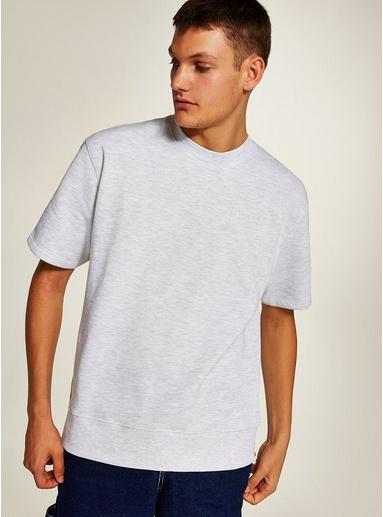 Kurzärmeliges Sweatshirt, grauweiß, GRAU