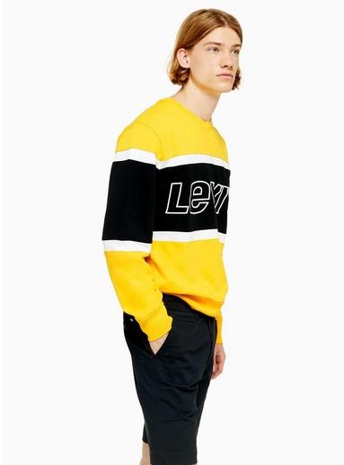 LEVI'S Sweatshirt mit Blockfarbendesign, gelb, GELB
