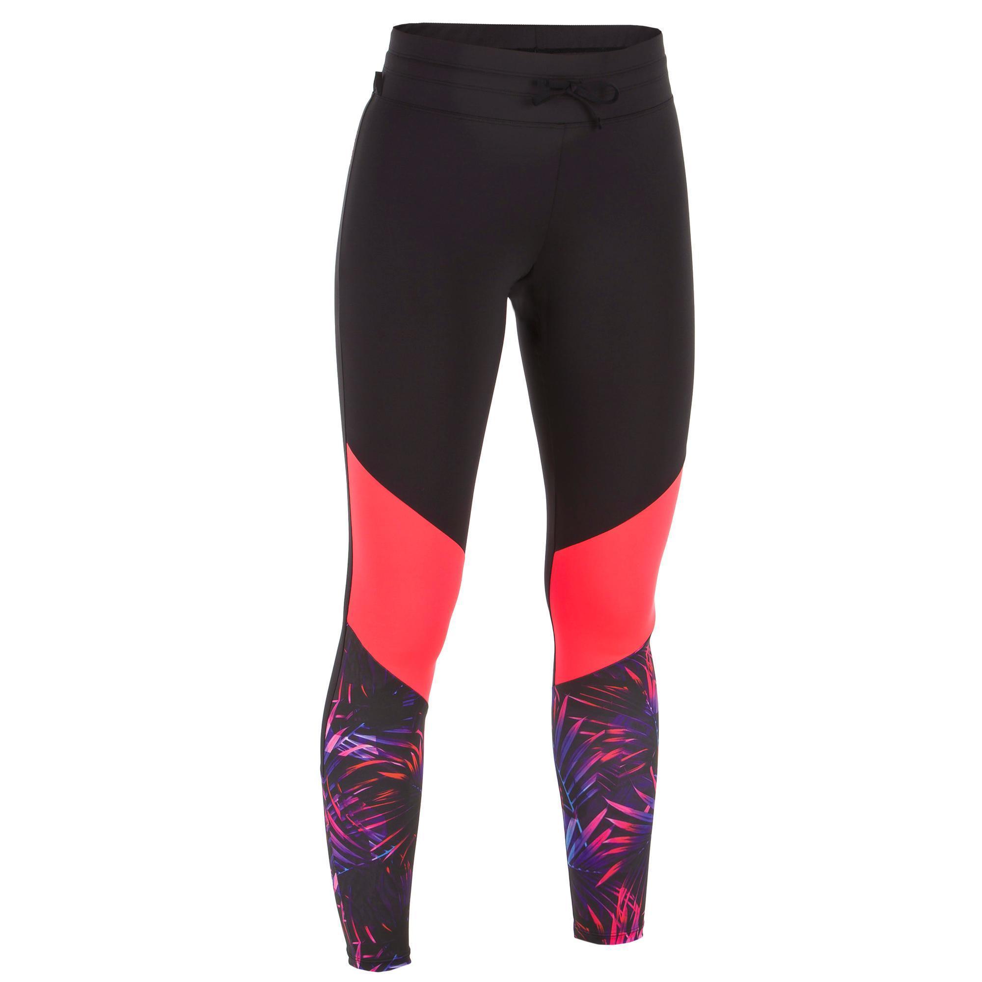 Leggings mit UV-Schutz Surfen 500 Damen rosa/schwarz