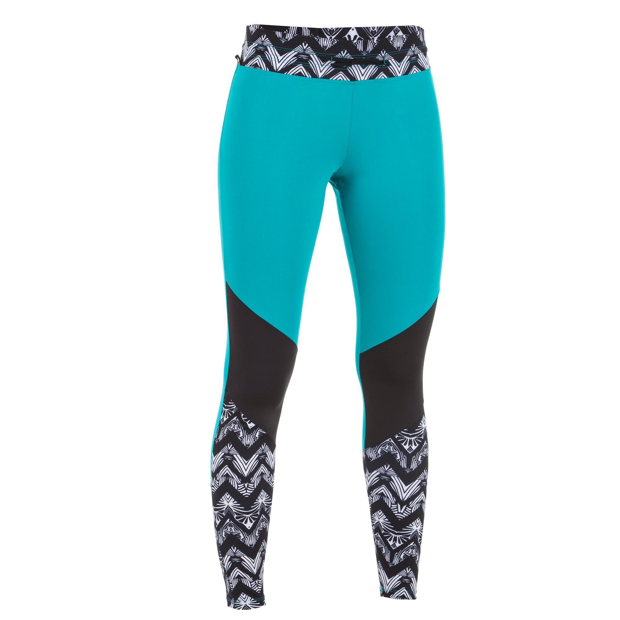 Leggings mit UV-Schutz Surfen 500 Damen schwarz/türkis