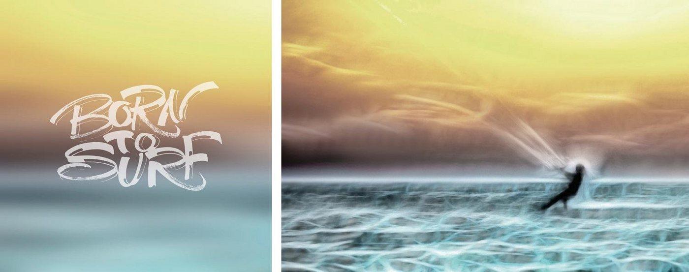 "Leinwandbild ""Born to Surf"", mehrfarbig, 100x40cm,"