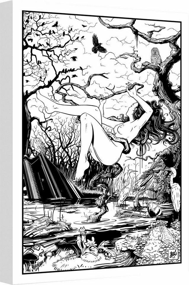 """Leinwandbild """"Drawstore - Swampland"""", schwarz, 50x80cm,"""