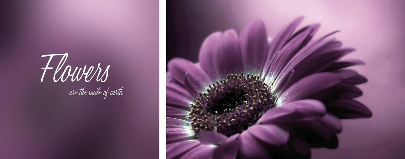 "Leinwandbild ""Flower"", mehrfarbig, 100x40cm,"