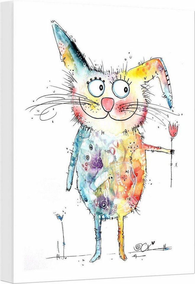"Leinwandbild ""Hagenmeyer - Happy Rabbit"", mehrfarbig, 30x45cm,"