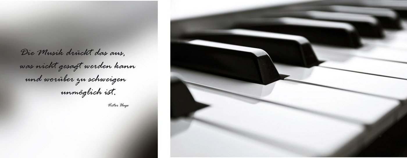 "Leinwandbild ""Klavier"", grau, 100x40cm,"