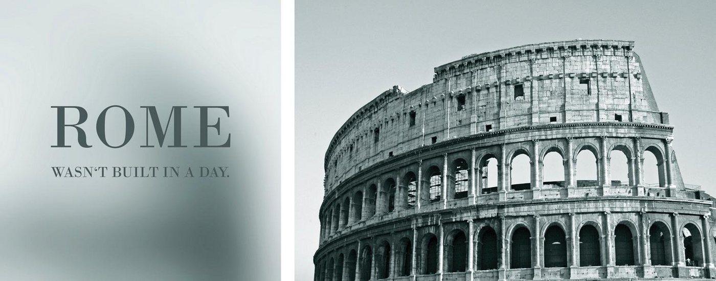 """Leinwandbild , grau, 100x40cm, """"Rome"""","""