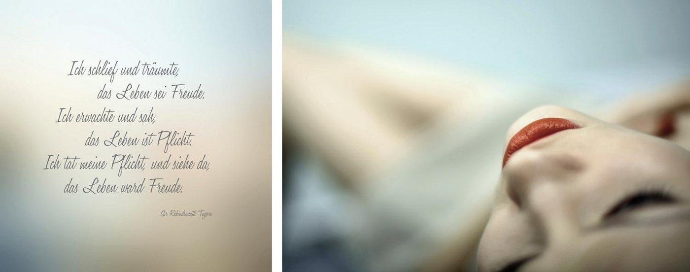 """Leinwandbild , mehrfarbig, 100x40cm, """"Freude & Pflicht"""","""