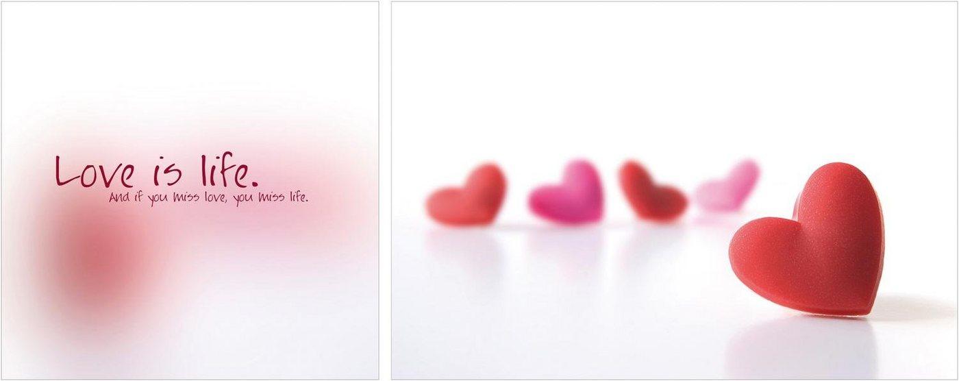 "Leinwandbild , mehrfarbig, 100x40cm, ""Love is Life"","
