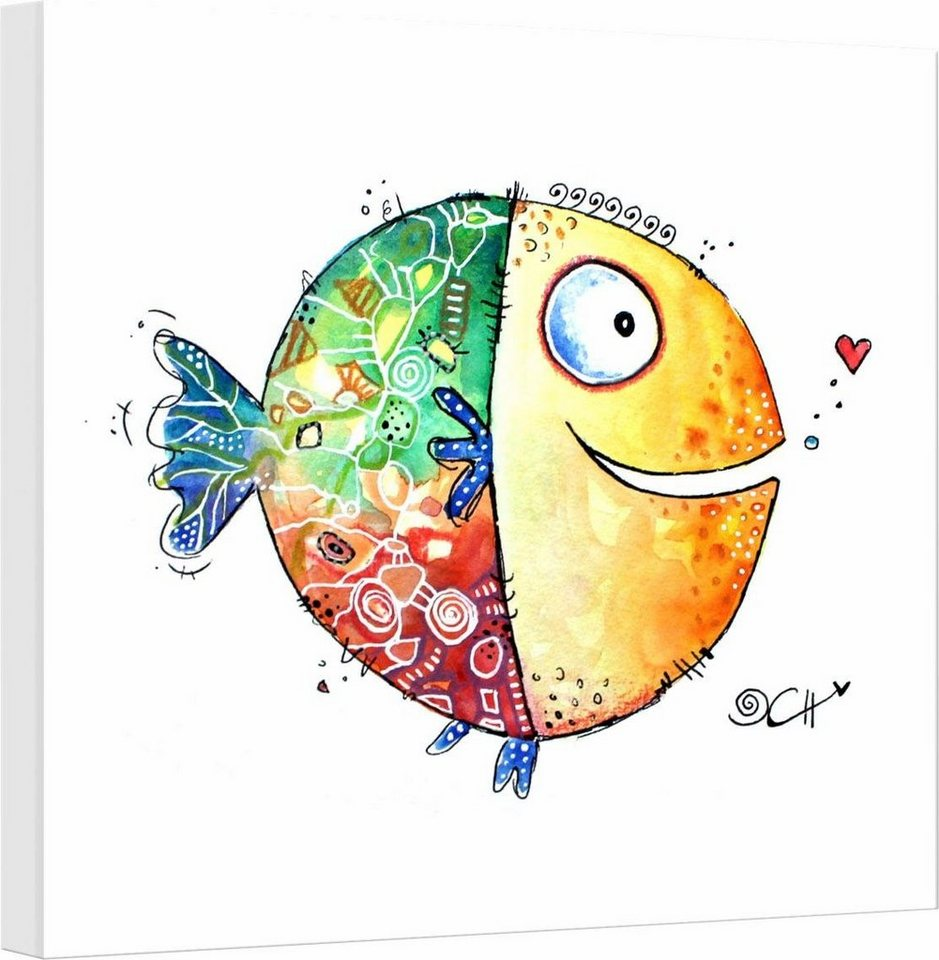 "Leinwandbild , mehrfarbig, 40x40cm, ""Hagenmeyer - Happy Fish"","