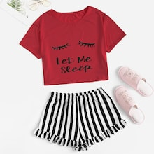 Letter Print Tee & Striped Flounce Hem Shorts PJ Set