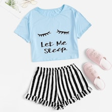 Letter Print Tee & Striped Ruffle Shorts PJ Set