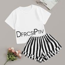 Letter Print Top & Striped Shorts PJ Set