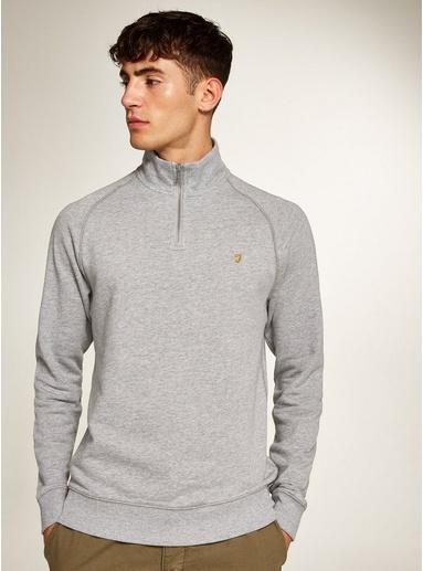Light Grey MarlFARAH 'Jim' Sweatshirt mit 1/4-Reißverschluss, grau, Light Grey Marl