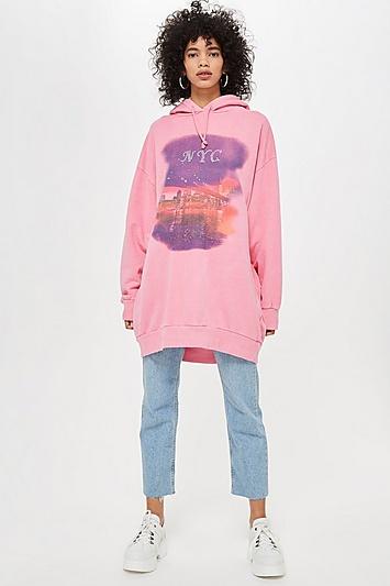 Longline-Kapuzenpulli mit New York-Landschaftsdruck - Pink
