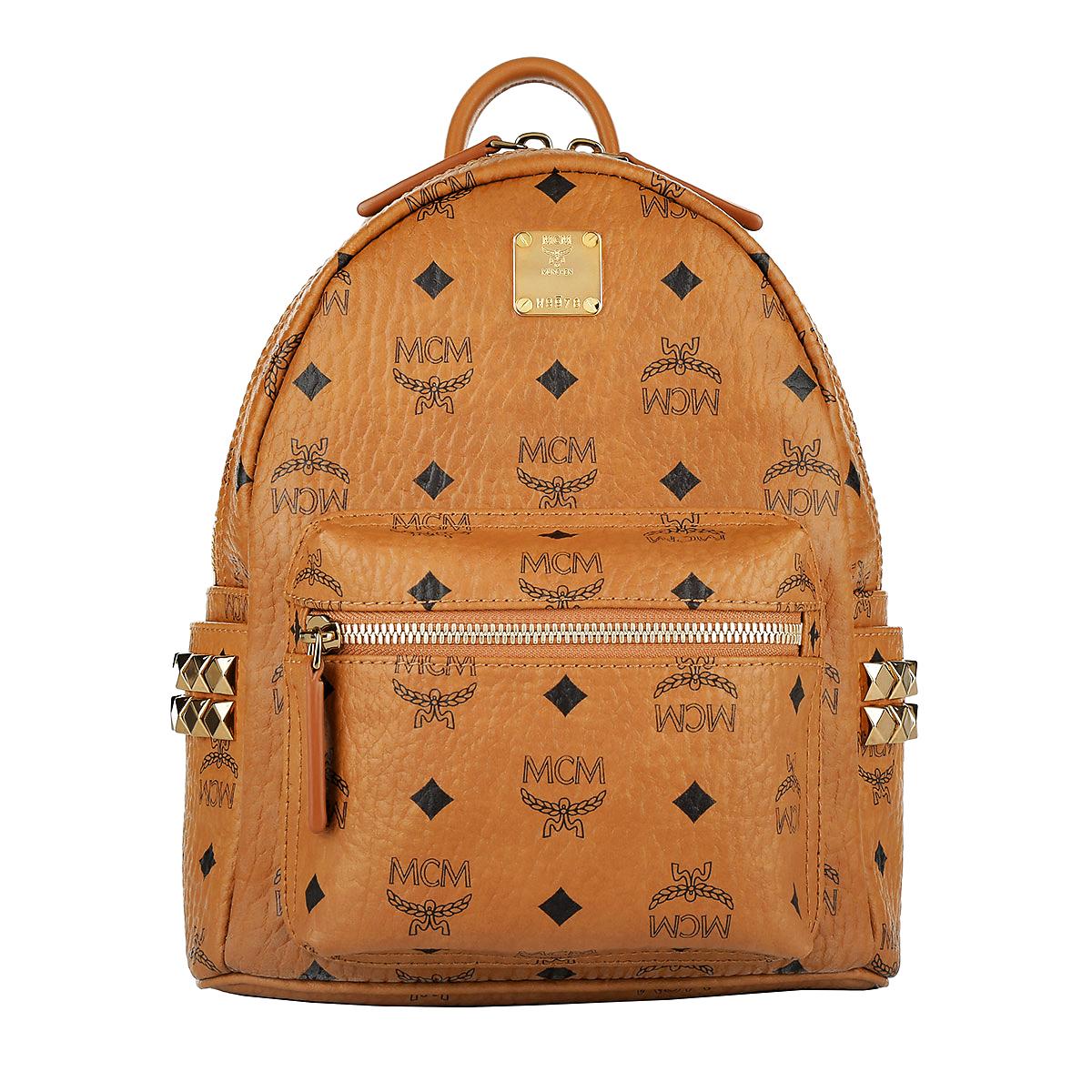 MCM Rucksack Stark Outline Studs Backpack Small Cognac