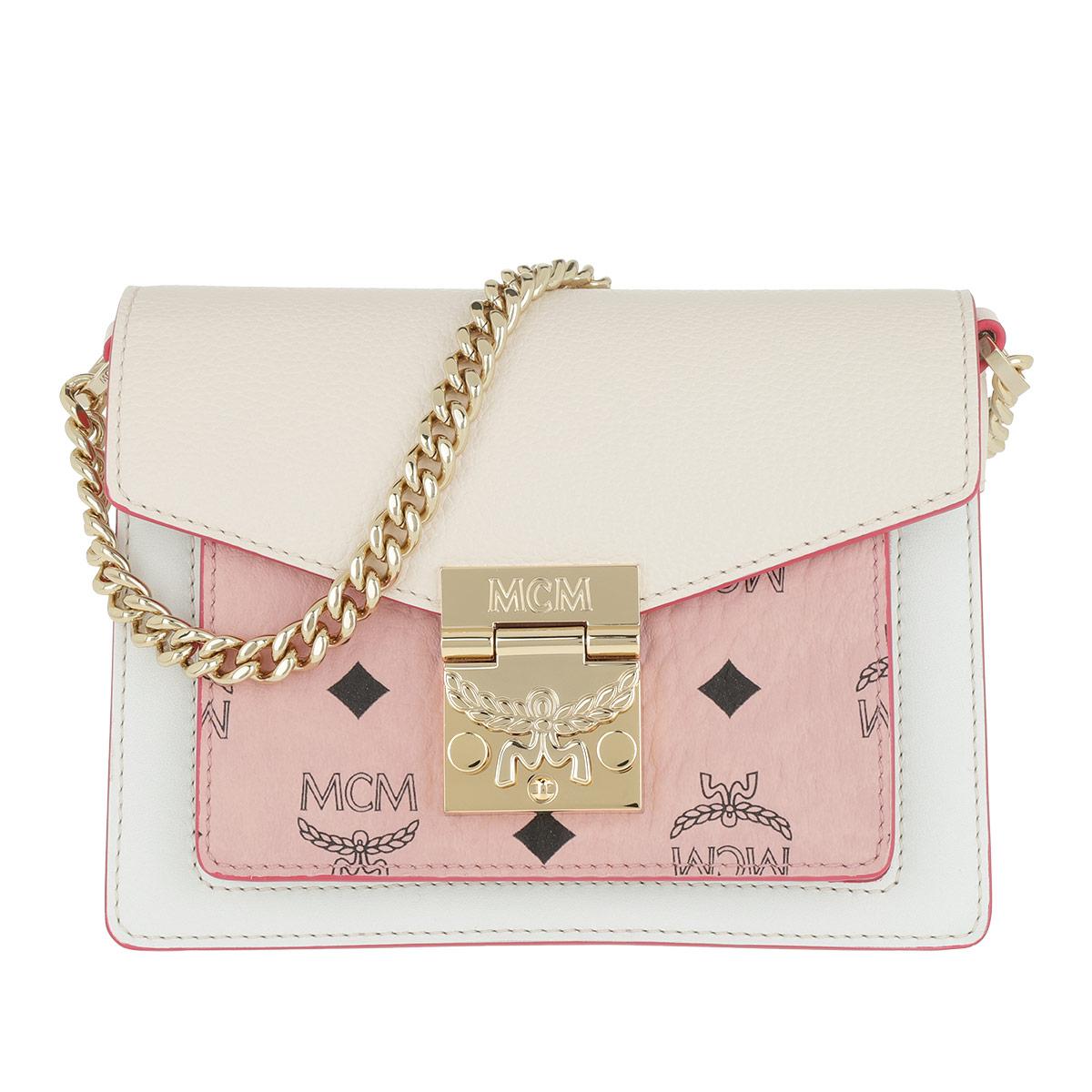 MCM Umhängetasche - Patricia Visetos Leather Block Crossbody Mini Soft Pink/Shell - in rosa - für Damen