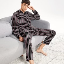 Men Button Up Striped Pajama Set