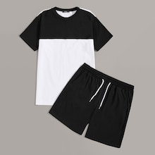 Men Color-block Tee & Drawstring Waist Shorts Set