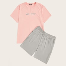 Men Letter Tee and Slant Pocket Shorts PJ Set