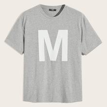 Men M Letter Print Top